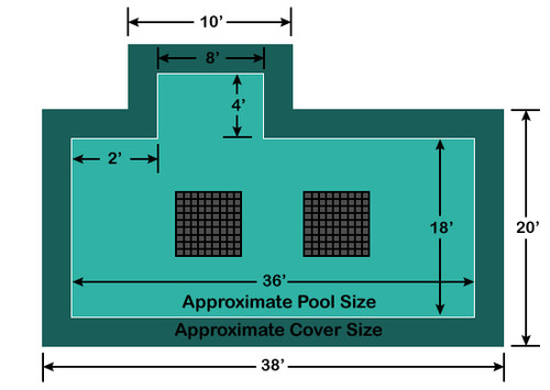 18' x 36' Rectangle with 4' x 8' Left 2' Offset Step Ultra-Loc III Solid with Drains In-Ground Pool Safety Cover