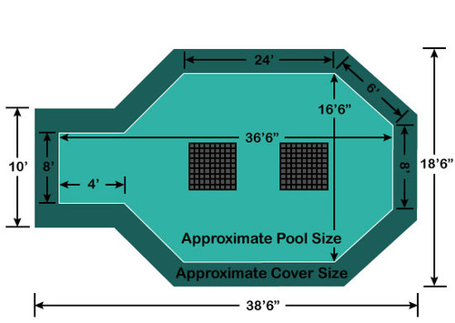 "16' 6"" x 32' 6"" with 4' x 8' Center End Step Ultra-Loc III Solid - Drains In-Ground Pool Safety Cover"