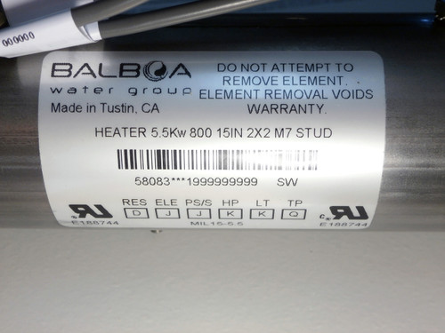 Master Spa - X300713 - 5.5 kW M7 Heater Assembly for 501 & 510 Plastic Spa Packs - Label View