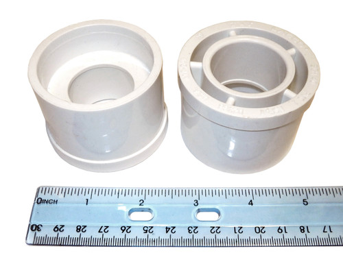 Master Spa - X217700 - Bushing Reducer 2 inch x 1 inch - Side View with ruler