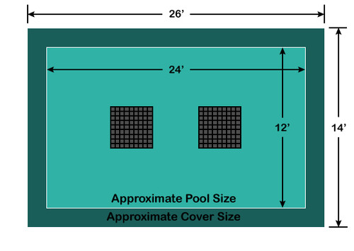 12' x 24' Rectangle Ultra-Loc III Solid Gray with Drain Panels In-Ground Pool Safety Cover