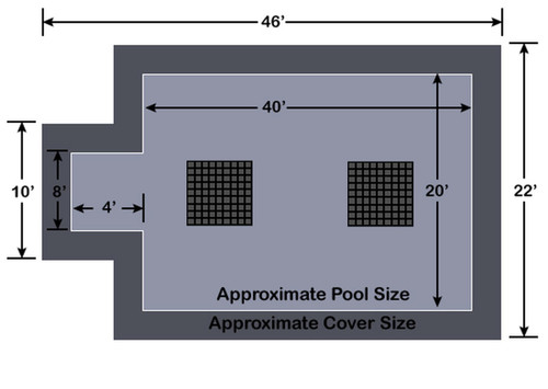 20' x 40' Rectangle  with 4' x 8' Center End Step Ultra-Loc III Solid Gray with Drain Panels In-Ground Pool Safety Cover