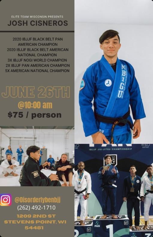 Jiu Jitsu Blackbelt Josh Cisneros Seminar June 26th, 2021 - Elite Team Wisconsin