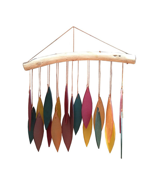 Recycled Glass Wind Chime Spring Leaves Driftwood - Wisdom Arts