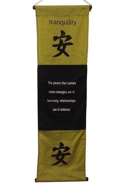 Large Inspirational Quote Banner/scroll Tranquility Olive Green - Handmade in Indonesia - Wisdom Arts