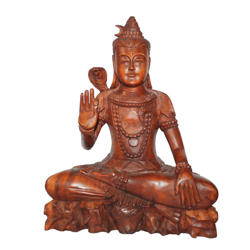 Hand carved Wooden Shiva 12.5 Inches - Wisdom Arts