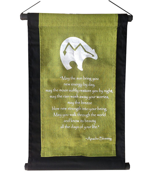 Inspirational Quote Banner/scroll Apache Blessing Olive Green - Handmade in Indonesia - Wisdom Arts