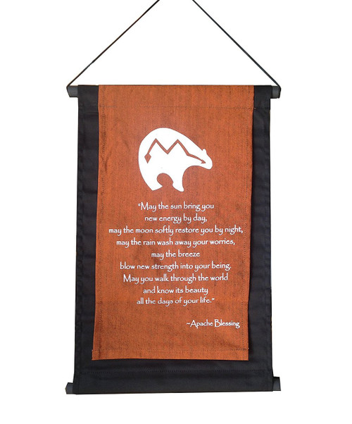 Inspirational Quote Banner/scroll Apache Blessing Copper Brown - Handmade in Indonesia - Wisdom Arts