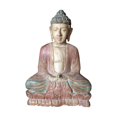 Wooden Meditating Buddha Statue Antique Style - Wisdom Arts
