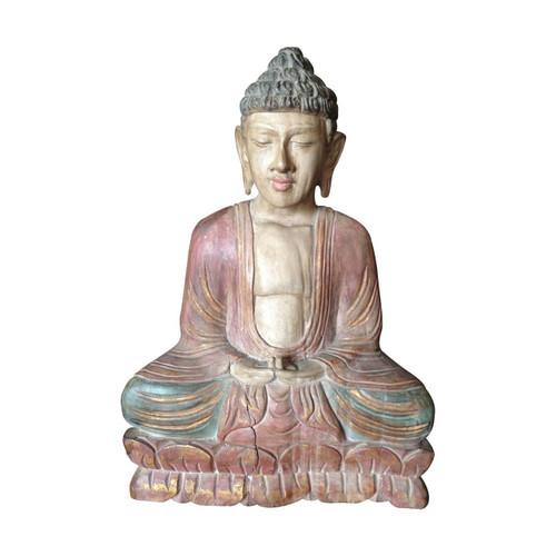 Wooden Meditating Buddha Statue Antique Style - Wisdom Arts