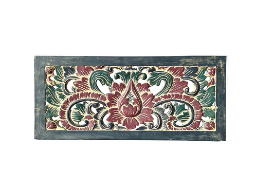 Handcarved Wooden Panel Floral Design - Handpainted Antique Style