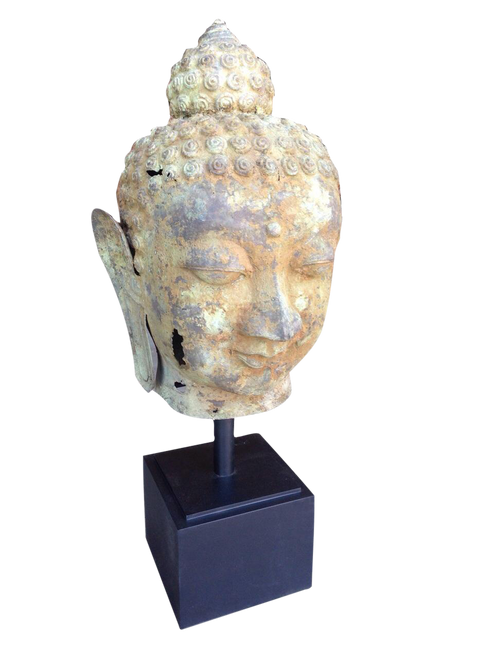 Brass Buddha Head Sculpture - Wisdom Arts