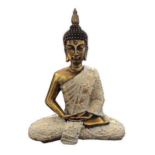 Golden Sitting  Thai Buddha - 11 Inches Tall - Wisdom Arts
