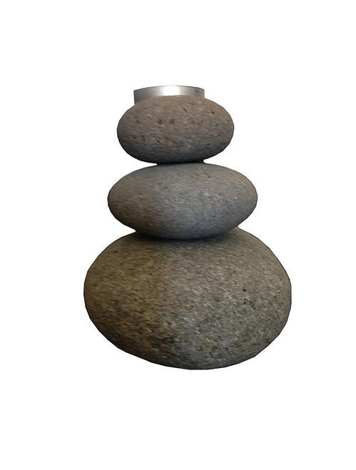 All Natural Handmade Zen Riverstones Tea Light Holder - Wisdom Arts
