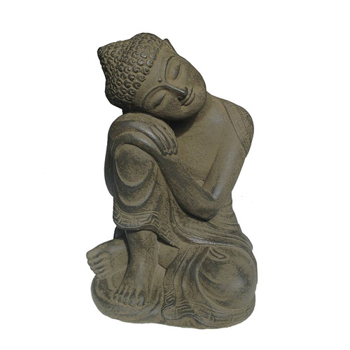 Volcanic stone and cement mix Relaxing Buddha Statue Dark Green - Made in Indonesia - Wisdom Arts