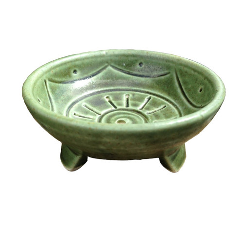 Green Ceramic Handmade Incense Stick Holder - Wisdom Arts