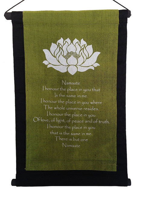 Scroll Inspirational  Lotus with 'namaste' quote, green - Handmade in Indonesia - Wisdom Arts