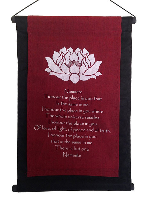 Banner/scroll Inspirational Lotus Namaste quote burgundy red - Handmade in Indonesia - Wisdom Arts