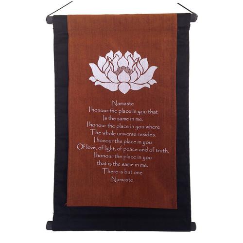 Banner/scroll Inspirational  Lotus Namaste - Handmade in Indonesia - Wisdom Arts