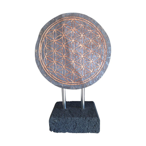 Natural Slate Stone Flower of Life Zen Style - Handmade in Indonesia - Wisdom Arts