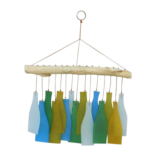 Recycled Glass and Driftwood Chime (Wind Chime) - Bottle shape design - Wisdom Arts