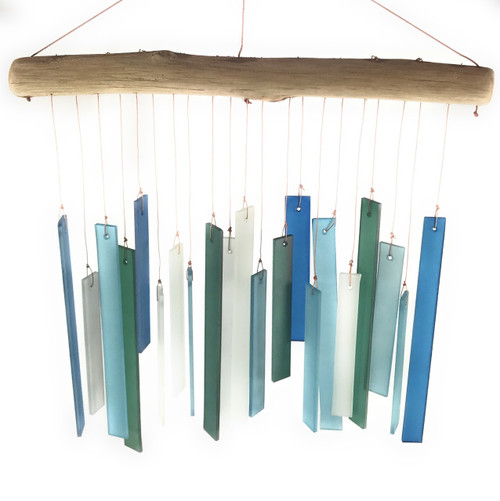 Recycled glass and driftwood - Blue rectangular glass chime - Wisdom Arts