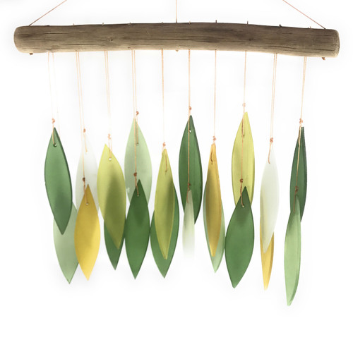 Recycled glass and driftwood windchime - Spring leaves design