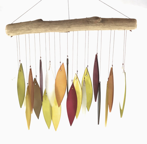 "Recycled glass and driftwood wind-chime - ""Sunset"" - Wisdom Arts"