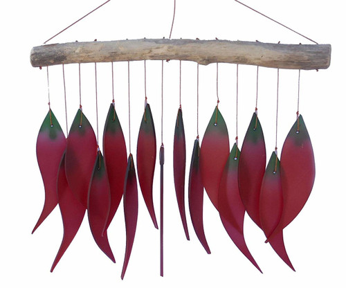 "Recycled glass and driftwood wind-chime - ""Red Chillies"" - Wisdom Arts"