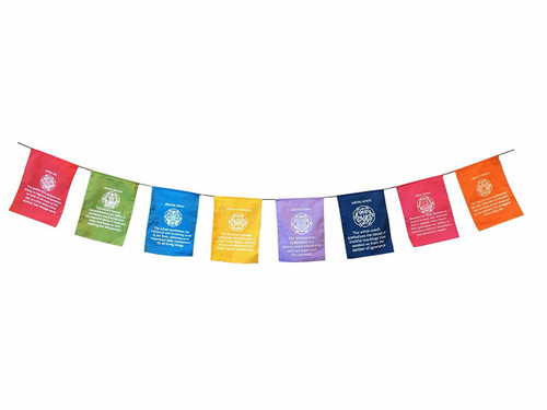 Inspirational Prayer Flag Style Banner - Dharma Wheel - Eight Auspicious Symbols