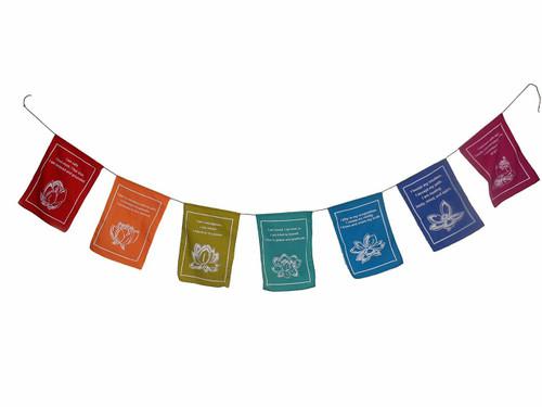 """Lotus """"Tibetan prayer flag style"""" inspirational hanging banner"""