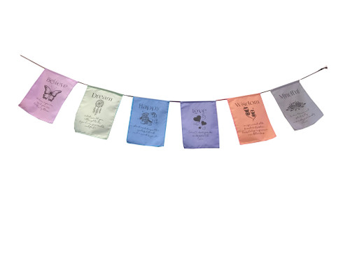 Mindful - inspirational prayers flags - soft pastel color