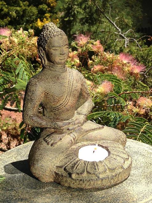 Meditating Buddha 7.25 w lotus candle holder - Wisdom Arts