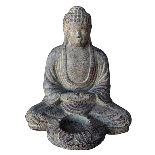 Meditating Buddha 7.25 w lotus candle holder - Wisdom Arts
