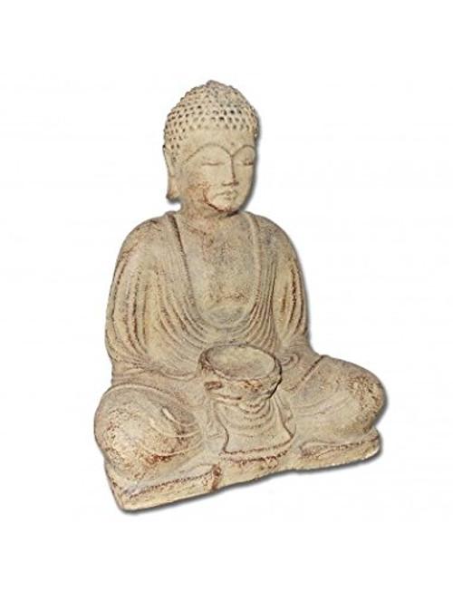 Meditating Buddha statue 8.5 w tealight candle holder - Made in Indonesia - Wisdom Arts
