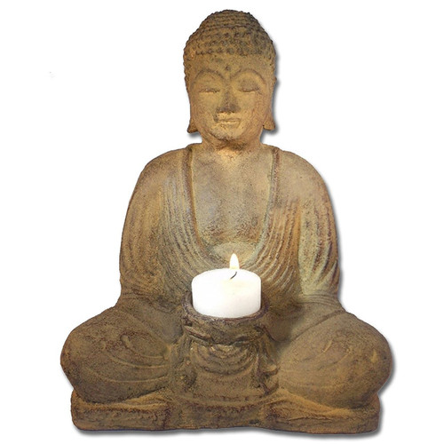 Meditating Buddha statue 8.5 w tealight candle holder - Made in Indonesia