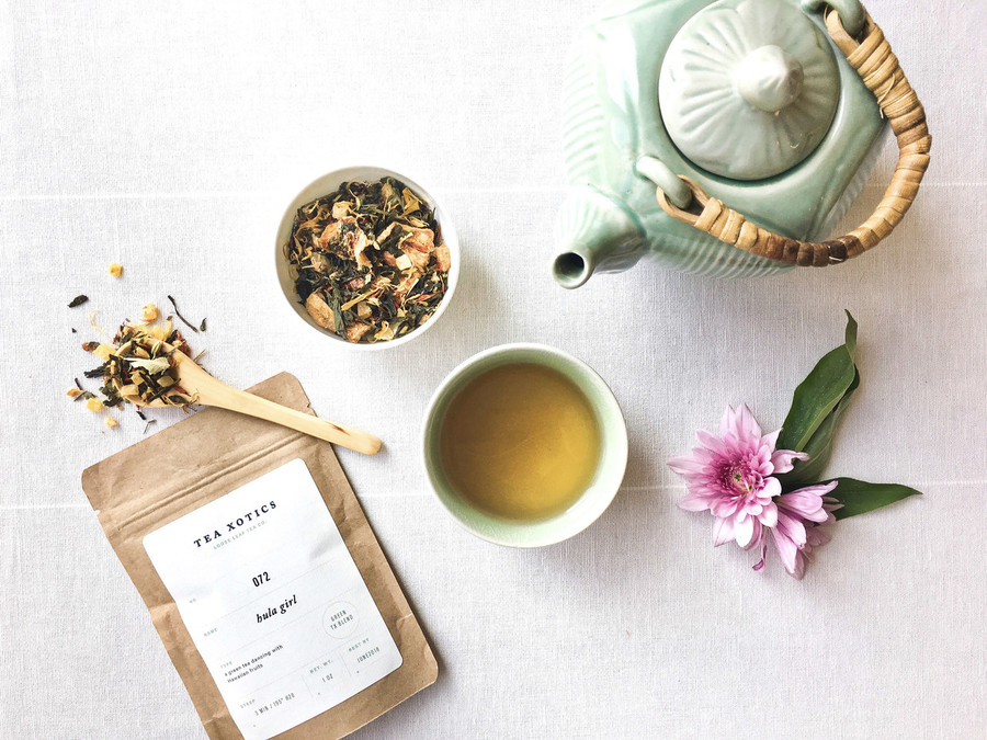 An xotic green tea dancing with Hawaiian fruits, mango, pineapple + natural flavor