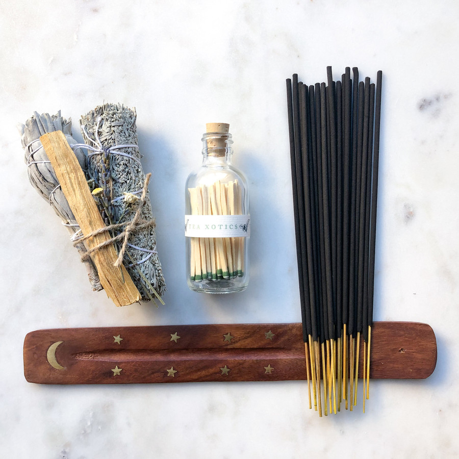Purity Gift Set by Tea Xotics  Palo Santo, Sage, Incense, Tray, Matches