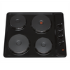 SIA PHP601BL 60cm Black 4 Zone Electric Solid Plate Easy Clean Side Control Hob