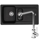 Franke Aveta 1.5 Bowl Black Tectonite Kitchen Sink And Reginox Angel Mixer Tap