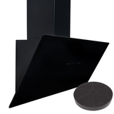 SIA TAG90BL 90cm Black Angled Touch Control Cooker Hood Extractor Fan & Filter