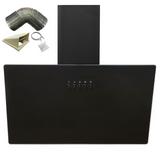 SIA AH60BL 60cm Black Angled Glass Chimney Kitchen Cooker Hood Fan & 3m Ducting