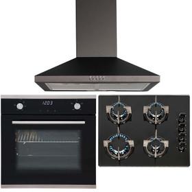 SIA 60cm Black Touch Control Single Fan Oven, 4 Burner Gas Hob & Chimney Hood