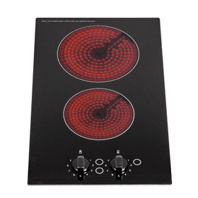 SIA CERH30BL 30cm 2 Burner Domino Ceramic Electric Hob In Black, Knob Control