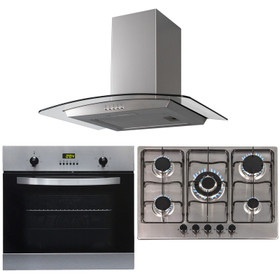 SIA 60cm Stainless Steel Single Electric Fan Oven, 70cm Gas Hob And Curved Hood