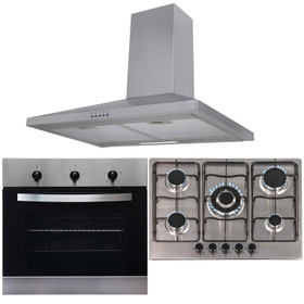 SIA 60cm Stainless Steel Single Oven, 70cm 5 Burner Gas Hob And Chimney Hood Fan