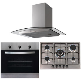 SIA 60cm Stainless Steel Single Electric Oven, 70cm Gas Hob &Curved Glass Hood