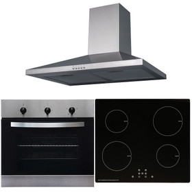 SIA 60cm Stainless Steel Single Fan Oven, 4 Zone Induction Hob And Cooker Hood
