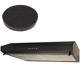 SIA STH50BL 50cm Black Slimline Visor Cooker Hood Kitchen Extractor And Filter