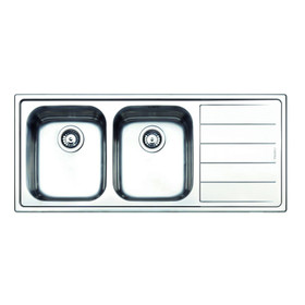 Clearwater LI200R 2 Bowl Right Handed Brushed Stainless Steel Kitchen Sink